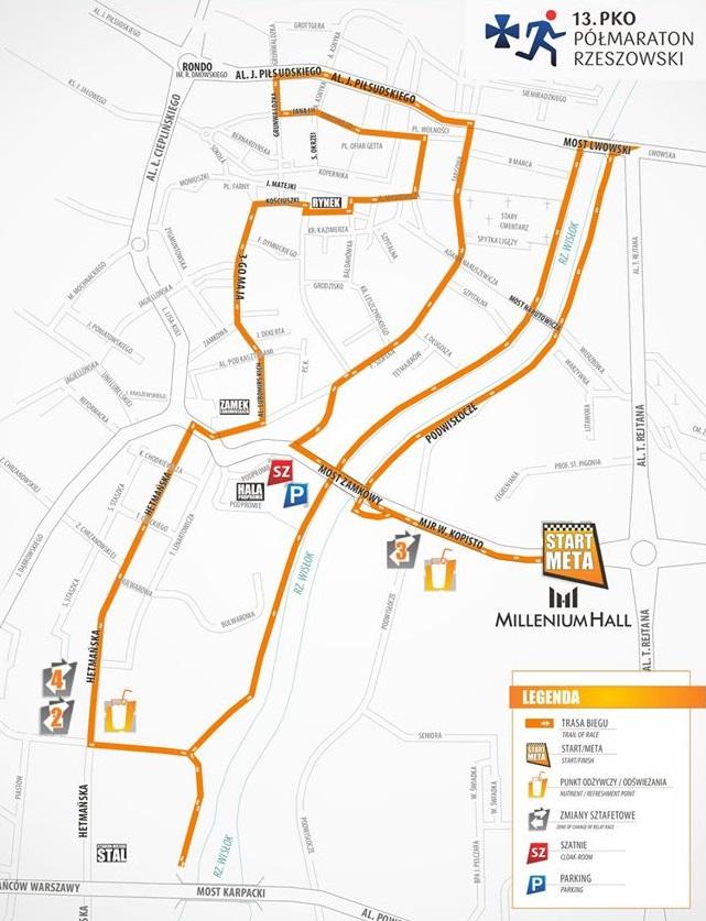 mapa trasy 13 pko pólmaraton rzeszowski